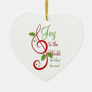 Joy to the World Christian Christmas Carol Music Double-Sided Heart Ceramic Christmas Ornament