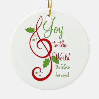 Joy to the World Christian Christmas Carol Music Double-Sided Ceramic Round Christmas Ornament