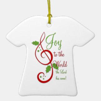 Joy to the World Christian Christmas Carol Music Double-Sided T-Shirt Ceramic Christmas Ornament