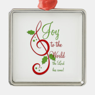 Joy to the World Christian Christmas Carol Music Silver-Colored Square Decoration