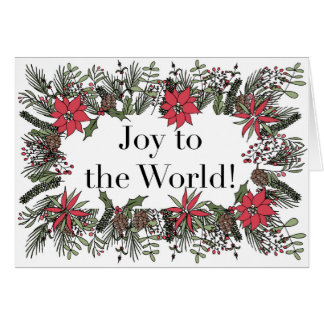 Joy to the World Christmas Wreath Card