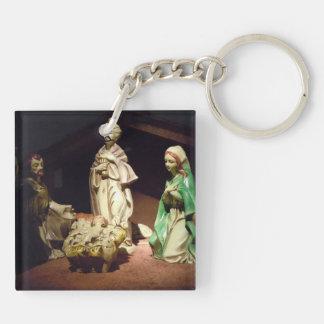Joy To The World Double-Sided Square Acrylic Key Ring