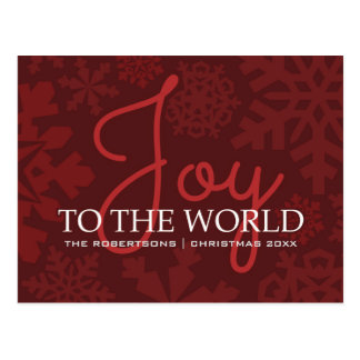Joy To the World - Festive Red Greetings Postcard