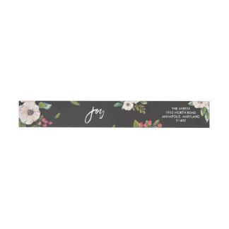 Joy To The World Floral Black Return Address Label