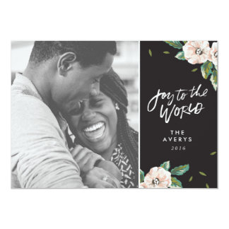 Joy To The World Floral Holiday Photo Card - Black