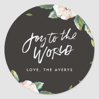 Joy To The World Floral Holiday Stickers - Black