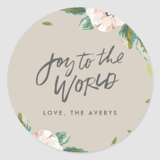 Joy To The World Floral Holiday Stickers - Taupe
