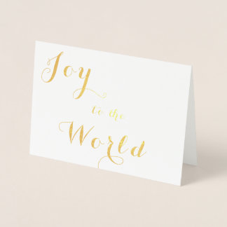 Joy to the World Gold Foil Greeting Card