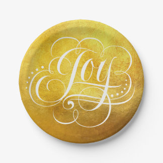 Joy to the World Gold Foil Luxury Christmas - Faux Paper Plate
