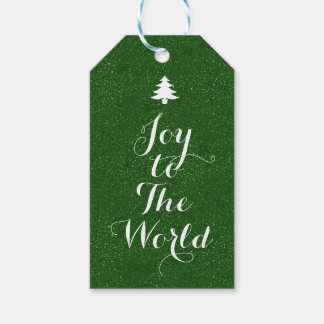 Joy to The World Green Glitter Gift Tags