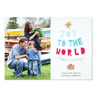 Joy to the World - Holiday Photo Card - gold stars 13 Cm X 18 Cm Invitation Card