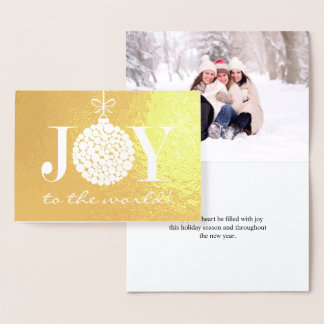Joy to the World Holiday Photo Foil Card