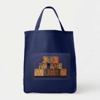 joy to the world in old wood grocery tote bag