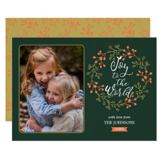 Joy to the World Modern Calligraphy Holiday Wreath Card