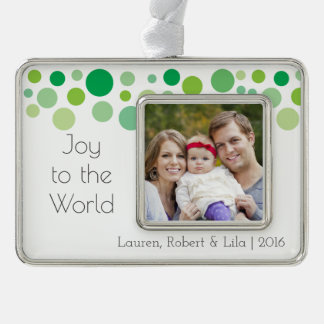 Joy to the World Modern Holiday Dots Family Photo Silver Plated Framed Ornament