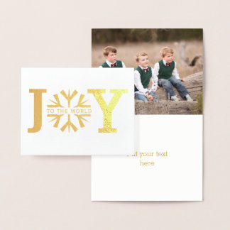 Joy to the world modern snowflake Christmas gold Foil Card