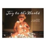 Joy to the World Photo Christmas Holiday Aqua Blue 13 Cm X 18 Cm Invitation Card