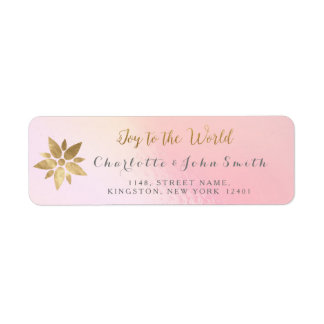 Joy To The World Pink Gray Rose Golden Star