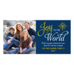 Joy to the World Religious Christmas Navy Blue Photo Greeting Card