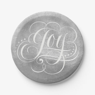 Joy to the World Silver Foil Luxury Christmas Faux Paper Plate