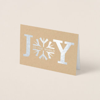Joy to the world snowflake modern Christmas silver Foil Card