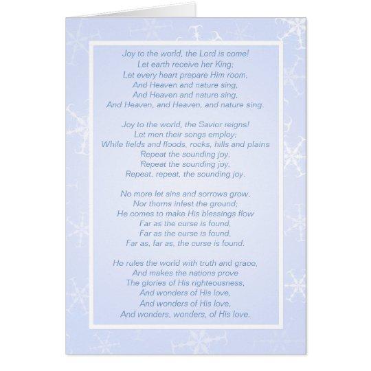 Joy to the World Snowflakes Christmas Card