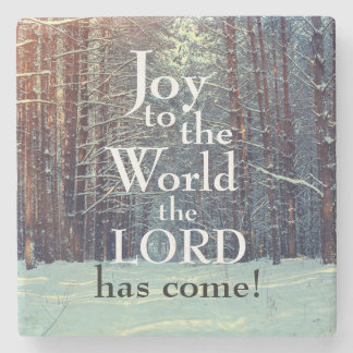 Joy to the World the Lord has Come, Winter Forest Stone Coaster