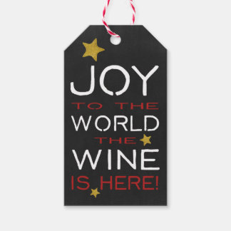 Joy To The World The Wine Is Here Custom Gift Tags