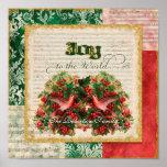 Joy to World Vintage Christmas Carol Sheet Music Poster