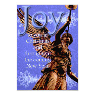 Joy to You at Christmas - Angel w/ trumpet in Blue 13 Cm X 18 Cm Invitation Card