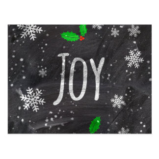 Joy typography snow black chalkboard  christmas postcard
