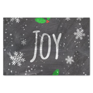 Joy typography snow black chalkboard  christmas tissue paper