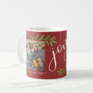 Joy Watercolor Christmas Leaves 2 Photos Coffee Mug