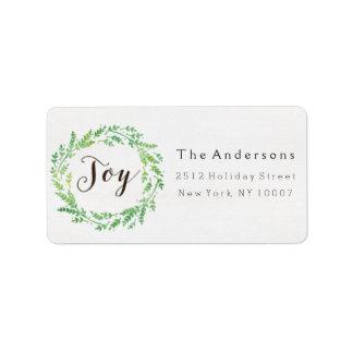 Joy watercolor wreath address label