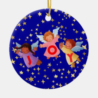 Joy  with Angels Christmas Ornament