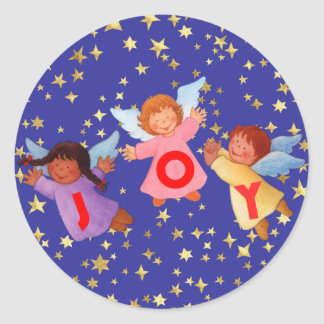 Joy  with Angels Classic Round Sticker