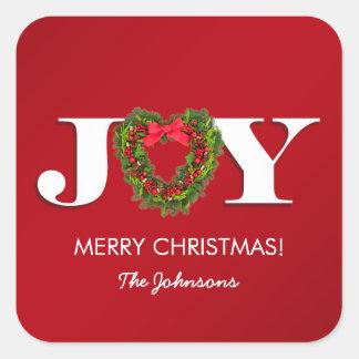 Joy with Heart Mistletoe Personalized Square Sticker