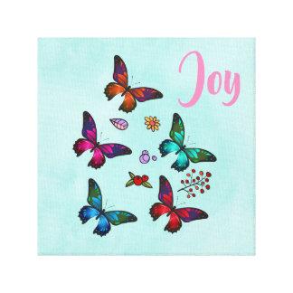 Joy with Pretty Little Butterflies Illustration Canvas Print