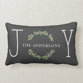 Joy Wreath Modern Monogram Christmas Holiday Lumbar Cushion