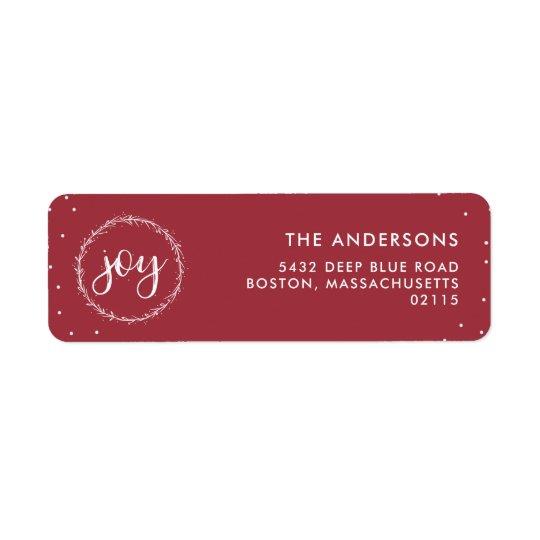 Joy Wreath - Red & White Holiday Return Address Label