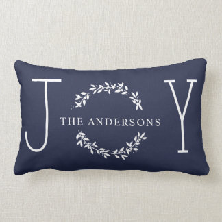 Joy Wreath White Modern Monogram Christmas Holiday Lumbar Cushion