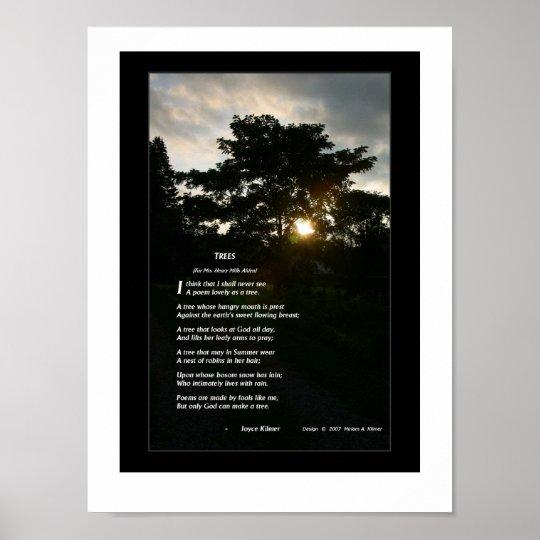 "Joyce Kilmer poem ""Trees"" poster with trees photo"