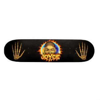 Joyce skull real fire and flames skateboard design