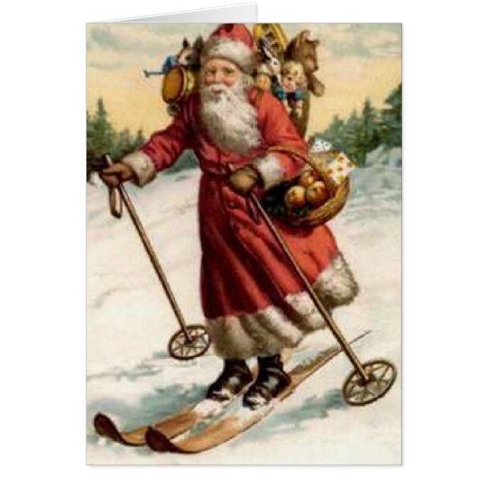 Joyeaux Noel Saint Nicholas Skiing Card