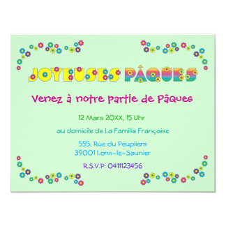 "Joyeuses Pâques 4.25"" X 5.5"" Invitation Card"