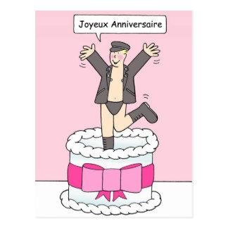 Joyeux Anniversaire, gay birthday man in leather, Postcard