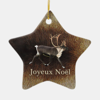 Joyeux Noёl - Bull Caribou (Reindeer) Ceramic Star Decoration