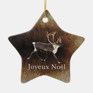 Joyeux Noёl - Bull Caribou (Reindeer) Christmas Ornament