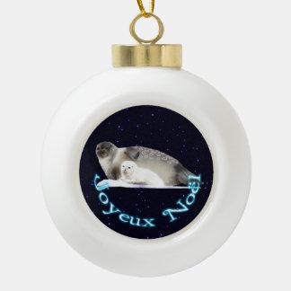 Joyeux Noёl - Ringed Seal Ceramic Ball Decoration