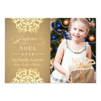 Joyeux Noël Carte-Photo | Papier Kraft et Or 13 Cm X 18 Cm Invitation Card